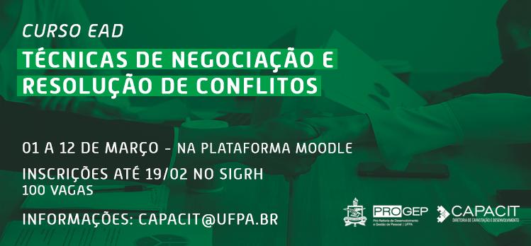 Progep oferta curso de Técnicas de Negociação e Resolução de Conflitos