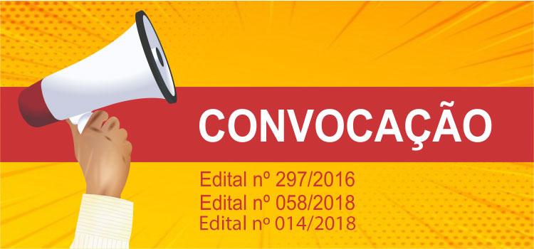 Convocação 030/2019 - Editais 297/2016, 58/2018 e 14/2018